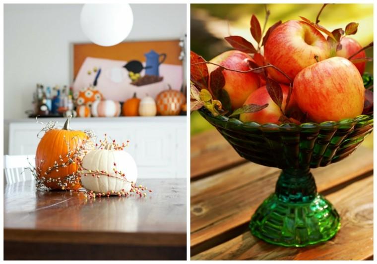 otoño centros mesa decorativos hojas secas arbol ideas