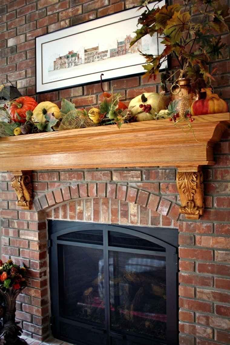 otoño chimenea hojas calabazas decorando casa ideas