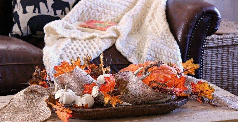 otoño decoracion estilo vintaje hojas secas arbol clabazas ideas