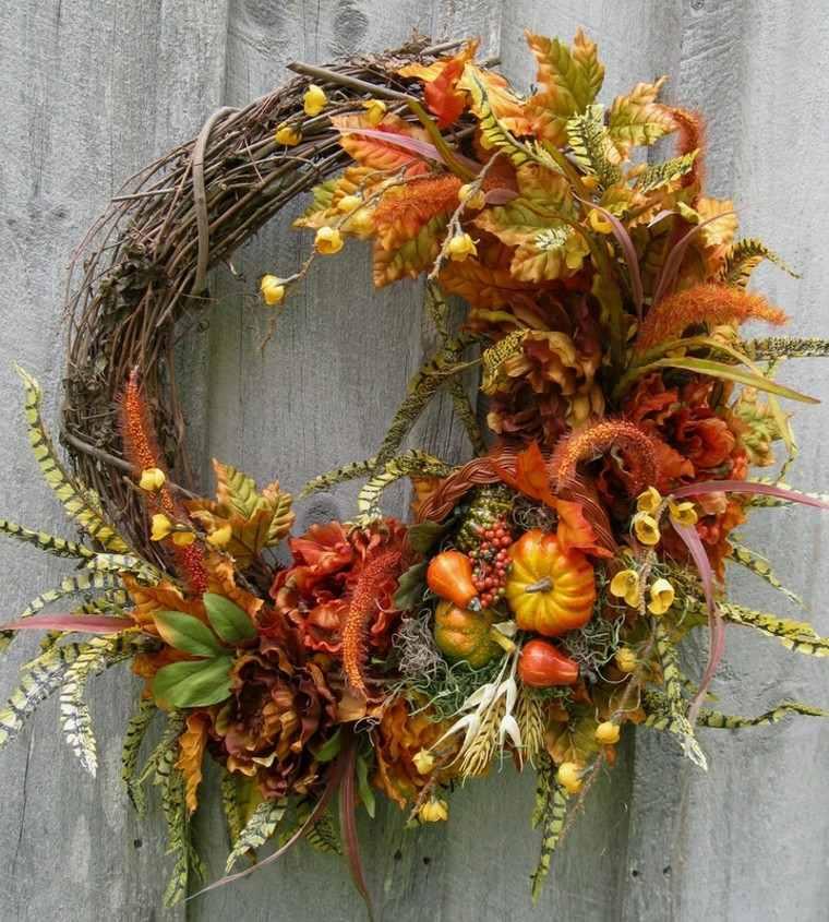 otoño gurnalda decorar puerta casa hojas secas arbol ideas