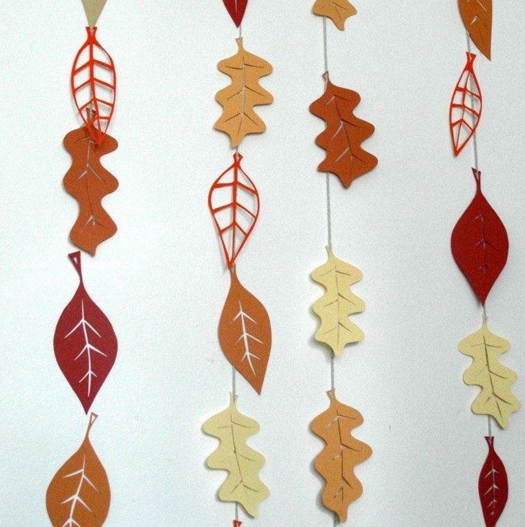 otoño hojas papel cuerda decoracion pared casa ideas