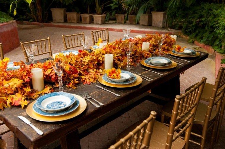 otoño hojas secas arbol centro mesa decoracion comidas aire libre ideas
