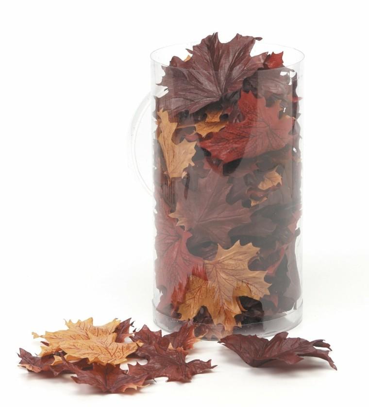 otoño jarron transparente hojas secas arbol ideas
