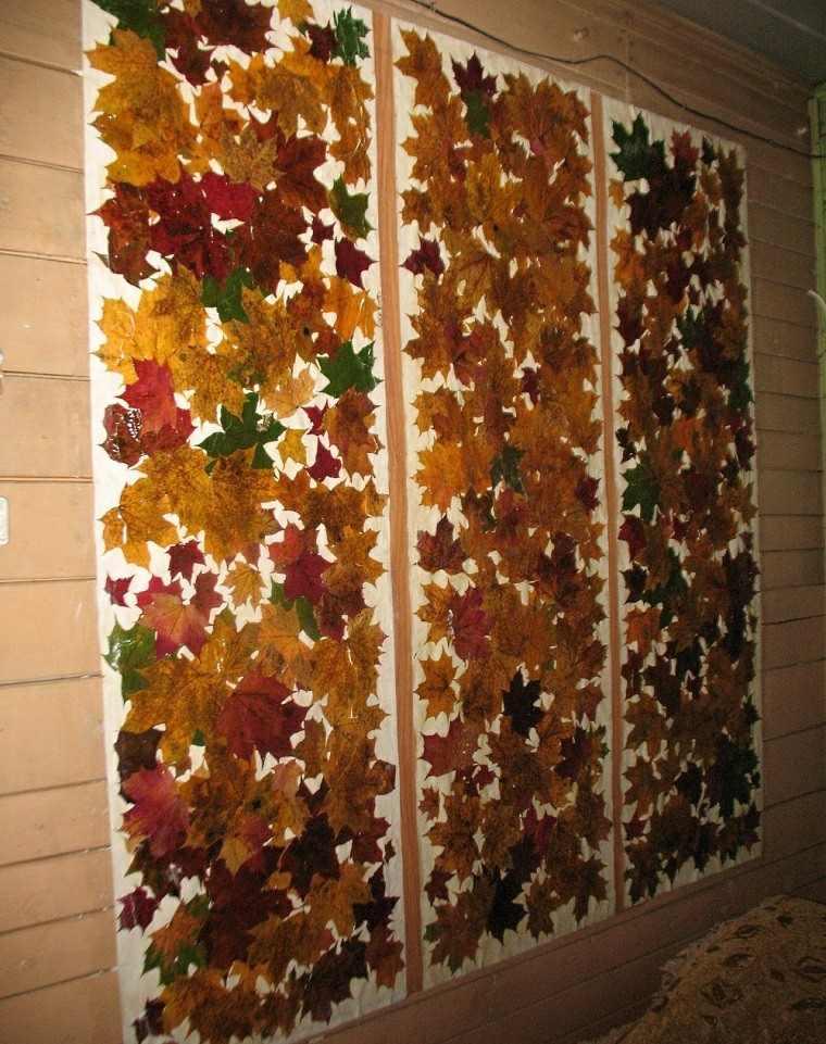 otoño pared casa decorada hojas secas arbol ideas