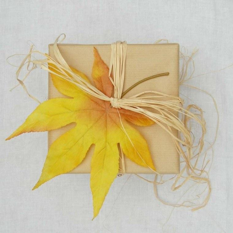 otoño regalos decorados hojas secas arbol ideas