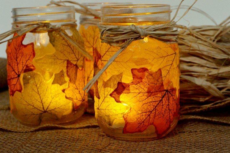 otoño tarros hojas secas arbol velas precioso ideas