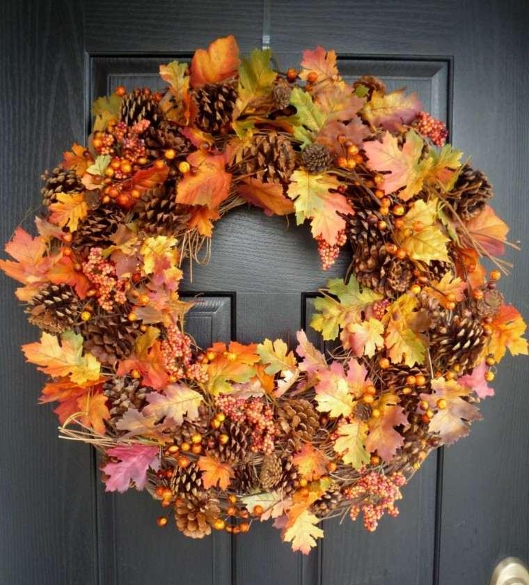 otoño decoracion puerta elegante hojas secas arbol pinas ideas