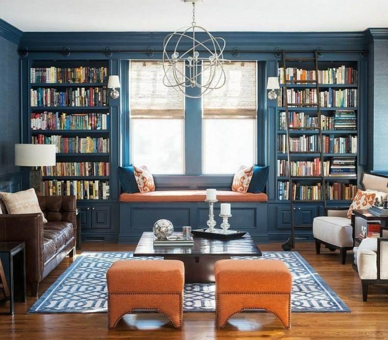 paleta de colores oscuros salon moderno azul ideas