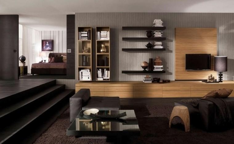 paleta de colores oscuros salon moderno combinacion gris negro ideas