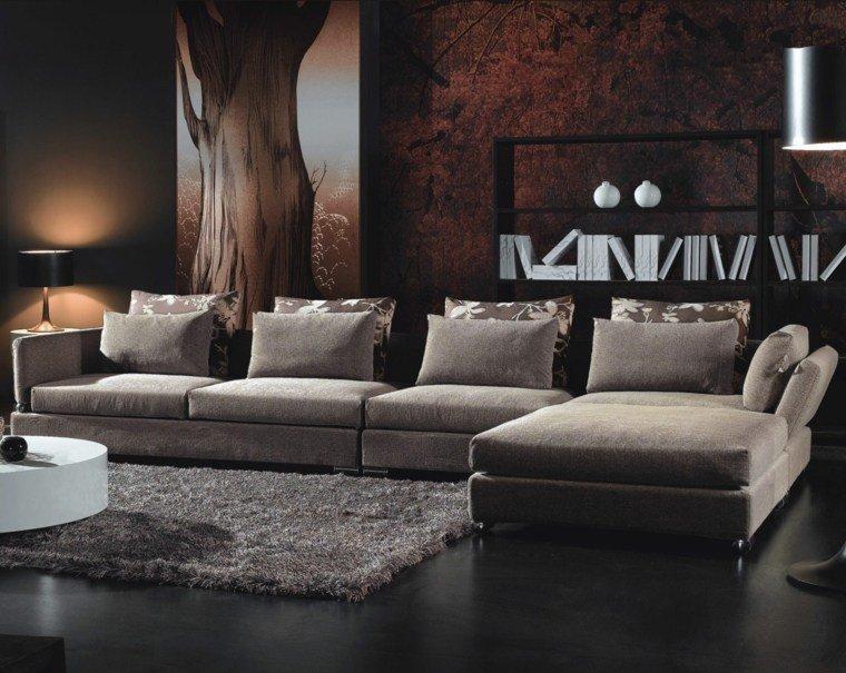 paleta de colores oscuros salon moderno muebles gris ideas