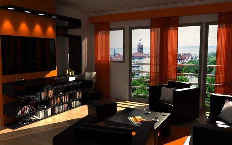 Paleta de colores oscuros para el sal n moderno for Black and burnt orange living room