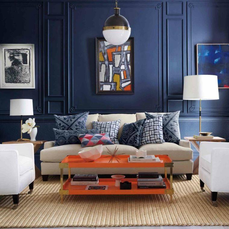 paleta de colores oscuros salon moderno pared azul oscuro ideas