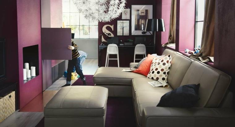 Paleta de colores oscuros para el sal n moderno - Salon pequeno moderno ...