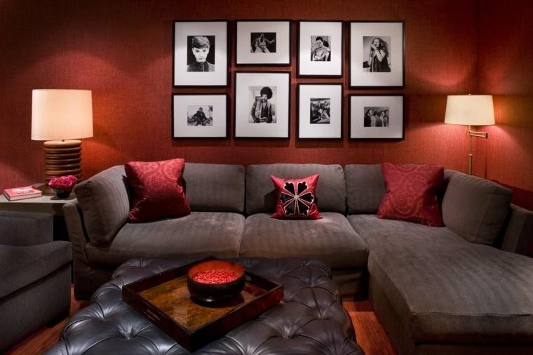 paleta de colores oscuros salon moderno rojo ideas