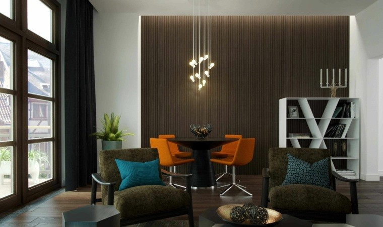 paleta de colores oscuros salon moderno sillas naranja ideas