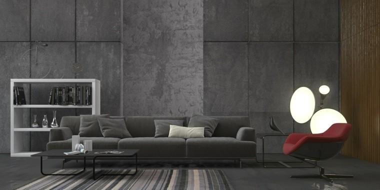paleta de colores oscuros salon moderno sofa gris ideas