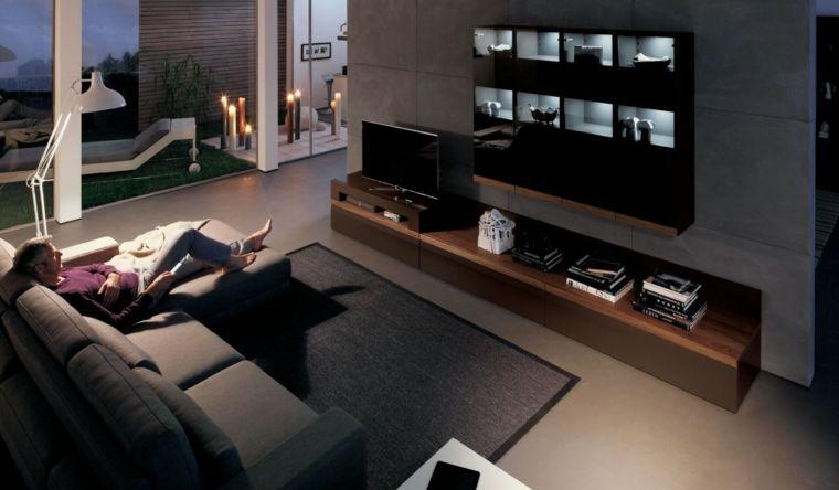 paleta de colores oscuros salon moderno tonos gris ideas