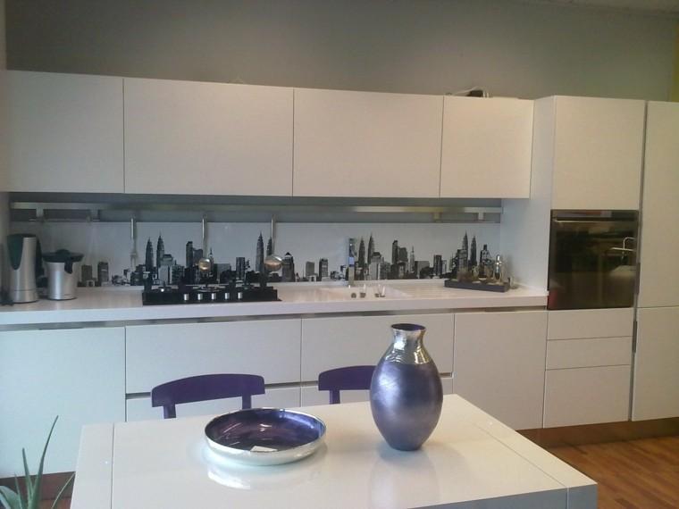 panel cocina moderna muebles blancos ideas