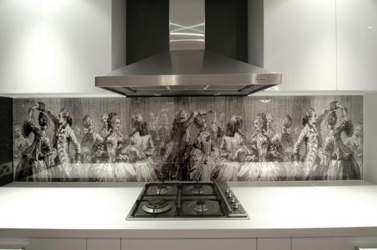 paneles cocina moderna pared creativa artistica ideas