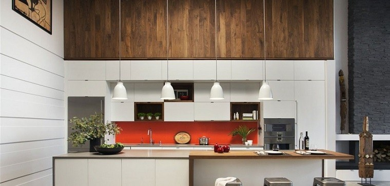 panel pared cocina moderna isla color naranja ideas