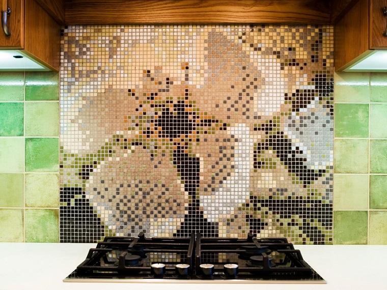 panel pared cocina moderna mosaico precioso ideas