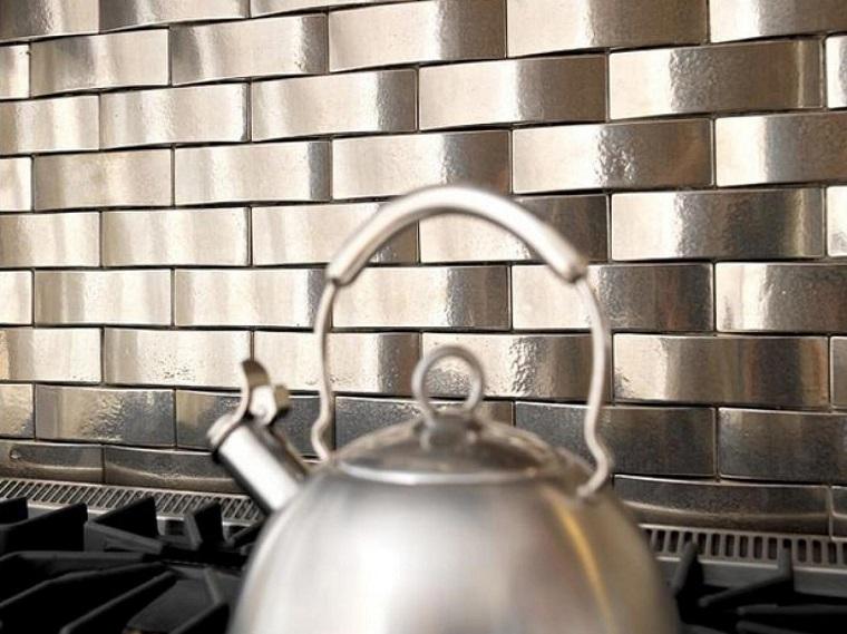 panel pared cocina moderna original metalico ideas