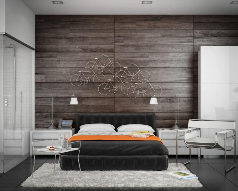 paneles madera bicicleta alfombra naranja