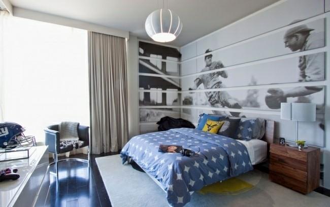 papel pared pintado dormitorio baseball