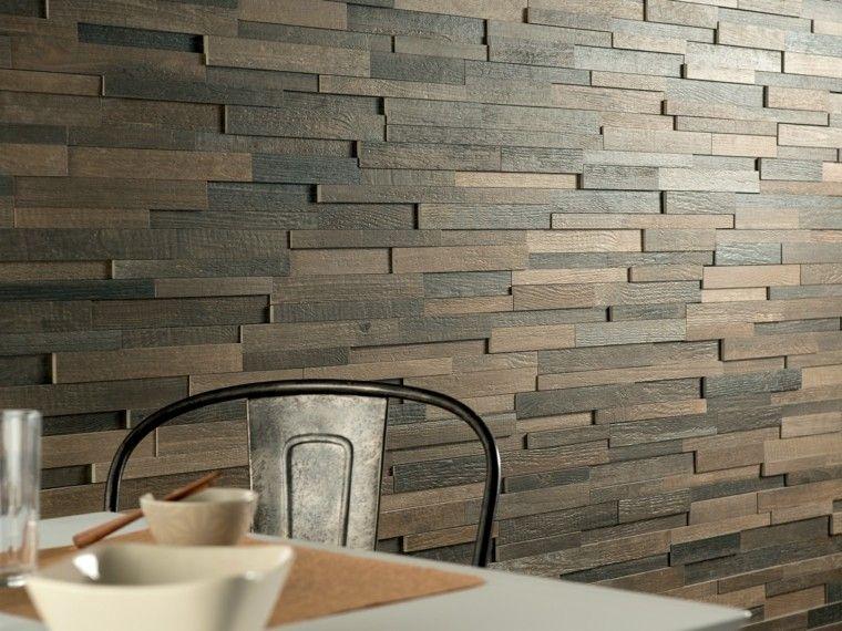 Baldosas azulejos y losas que imitan madera muy originales for Paredes con azulejo