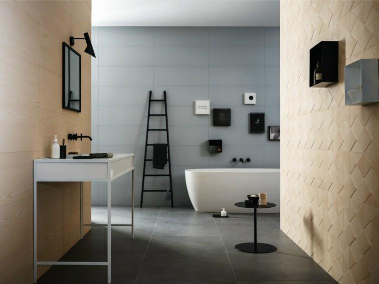 pared bano color claro imita madera lavabo preciosa ideas