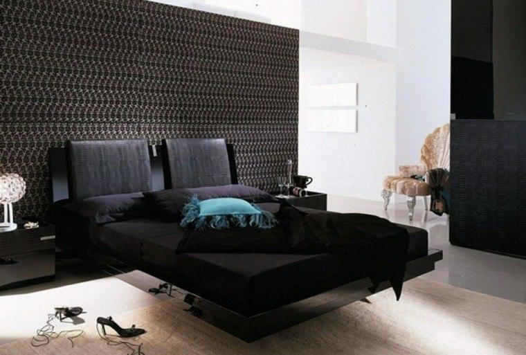 pared cabecero color oscuro cama