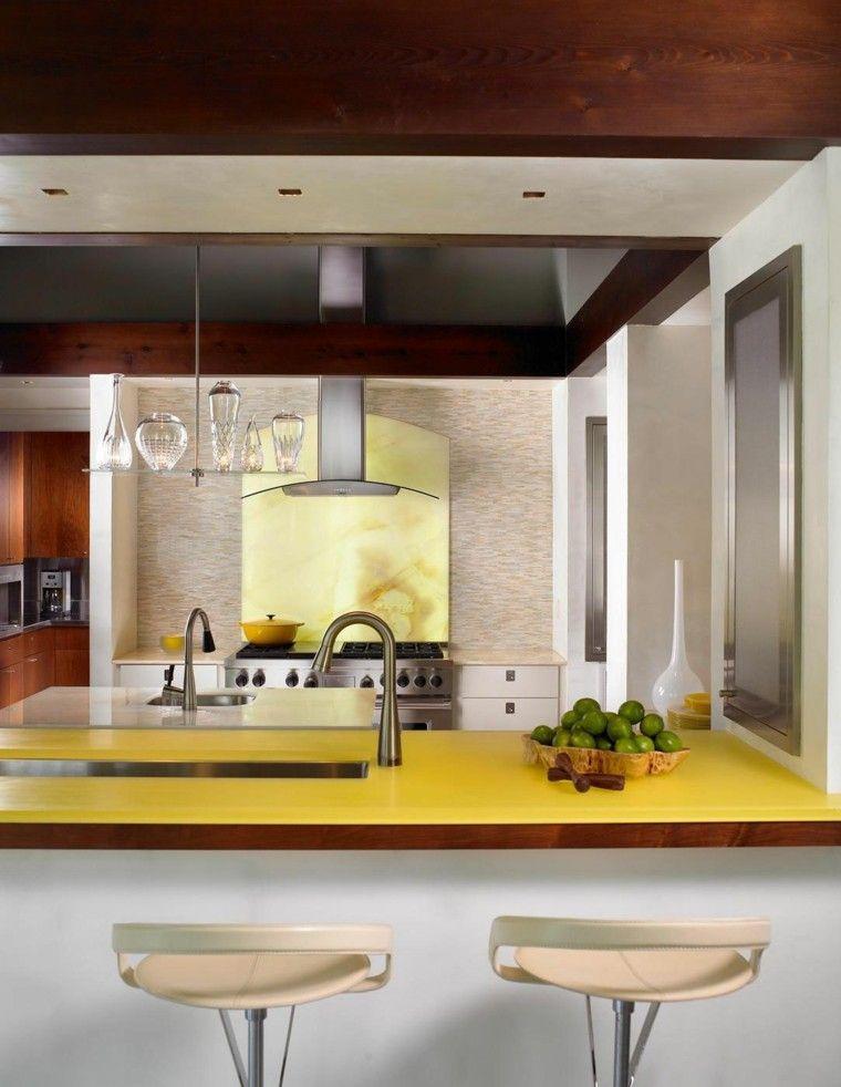 pared cocina moderna granito amarillo lavabo ideas