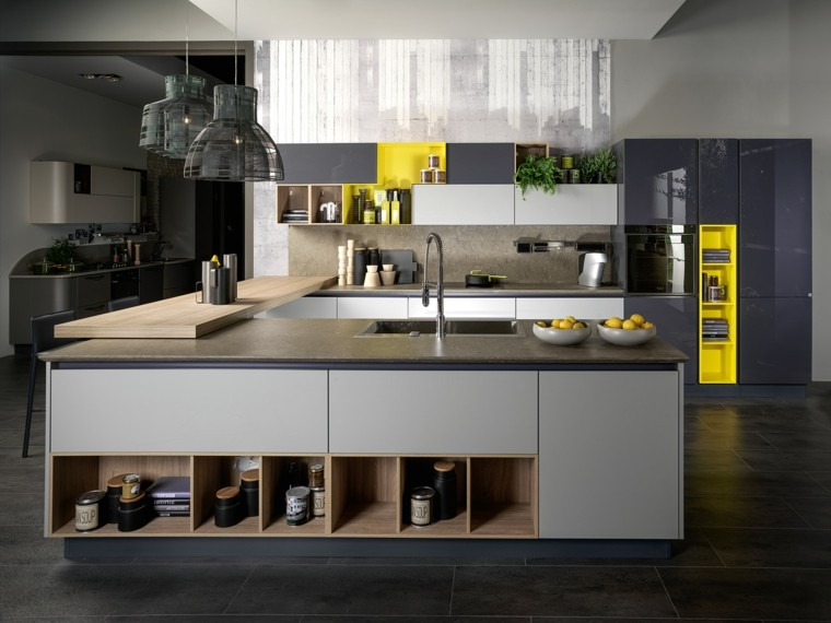 pared cocina moderna granito encimera isla ideas