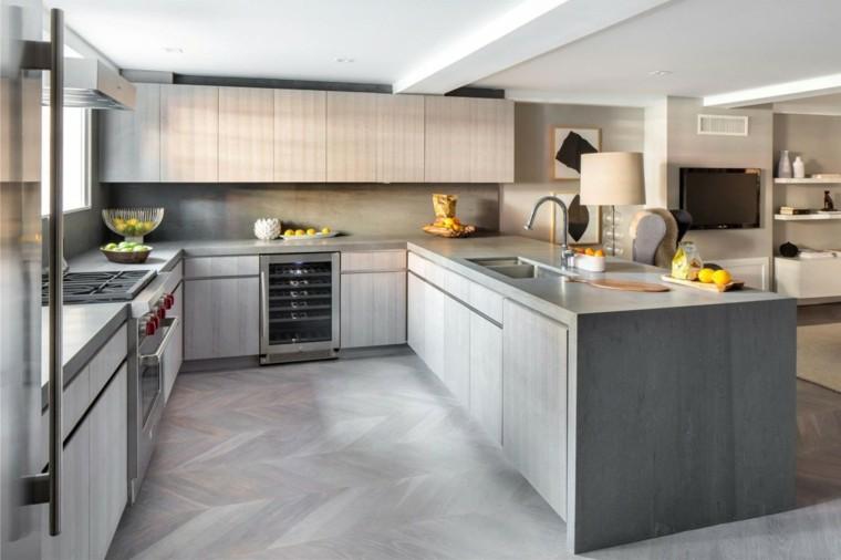 pared cocina moderna granito gris oscuro ideas