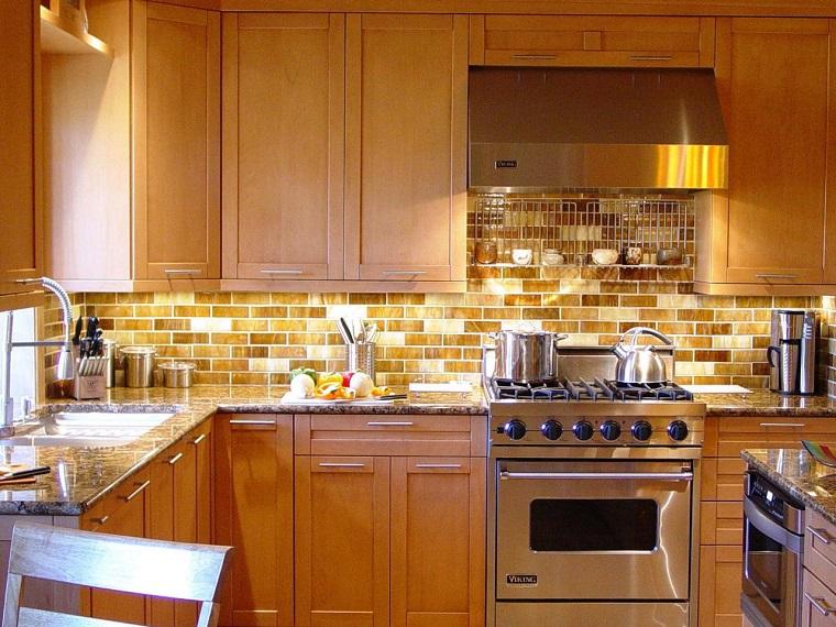 pared cocina moderna losas amarillas brillantes ideas