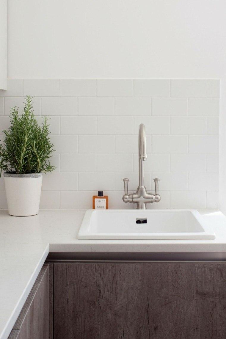 pared cocina moderna losas blancas estilo vintage ideas