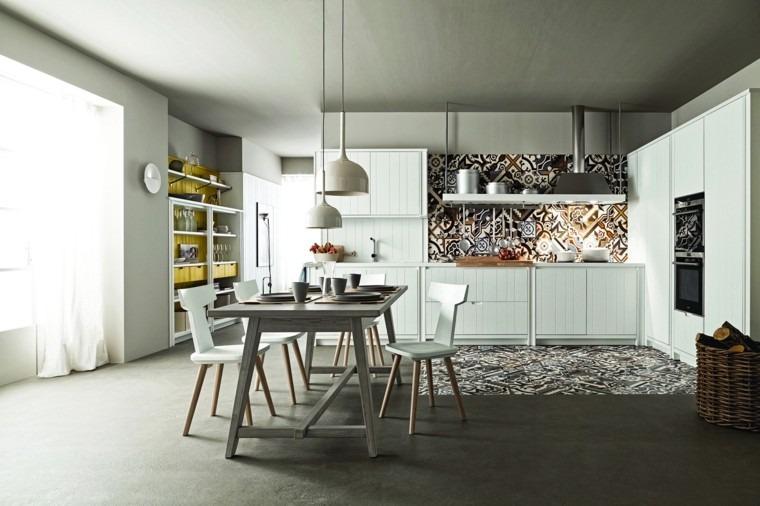 pared cocina moderna losas distintos colores ideas