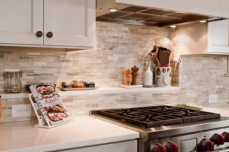 pared cocina moderna losas piedra ideas