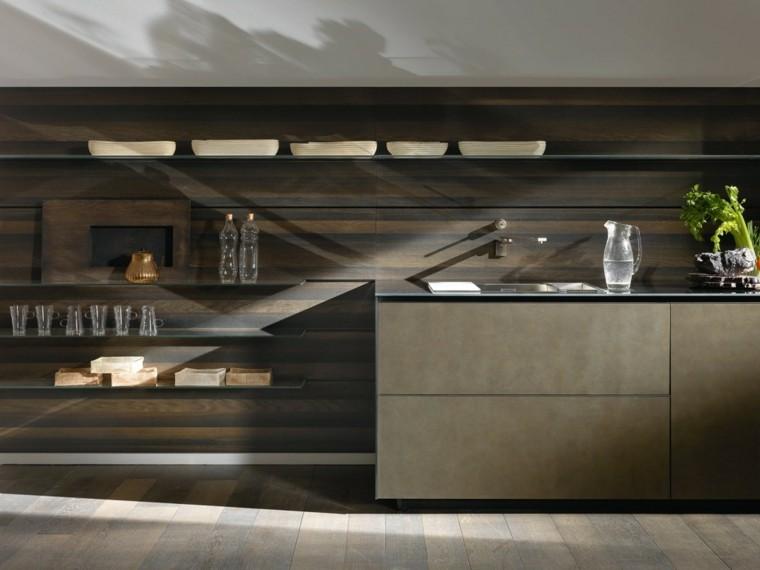 pared cocina moderna madera estantes abiertos ideas