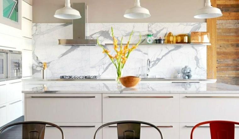 pared cocina moderna marmol blanco gris ideas
