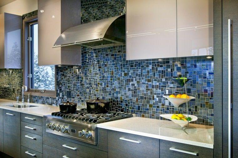 pared cocina moderna mosaico azul precioso ideas