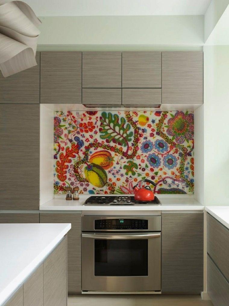 pared cocina moderna mosaico milticolor ideas
