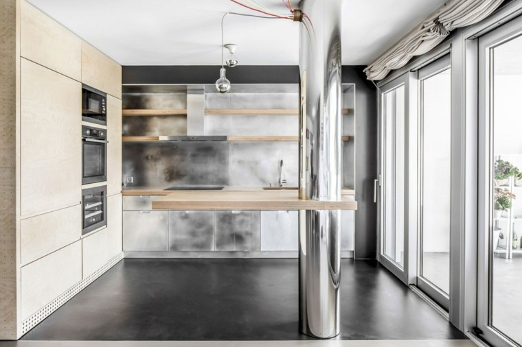 pared cocina moderna muebles acero inoxidable ideas