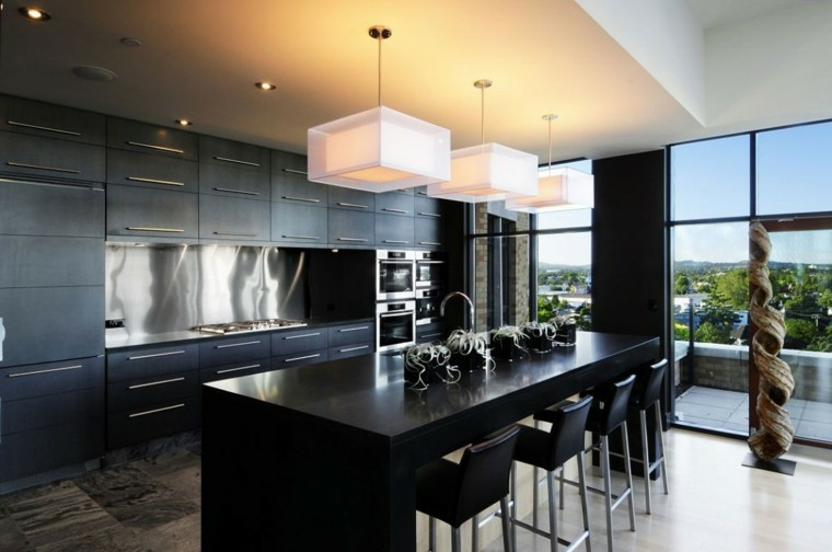 pared cocina moderna negra acero inoxidable ideas