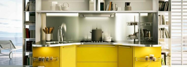 pared cocina moderna pared acero muebles amarillos ideas