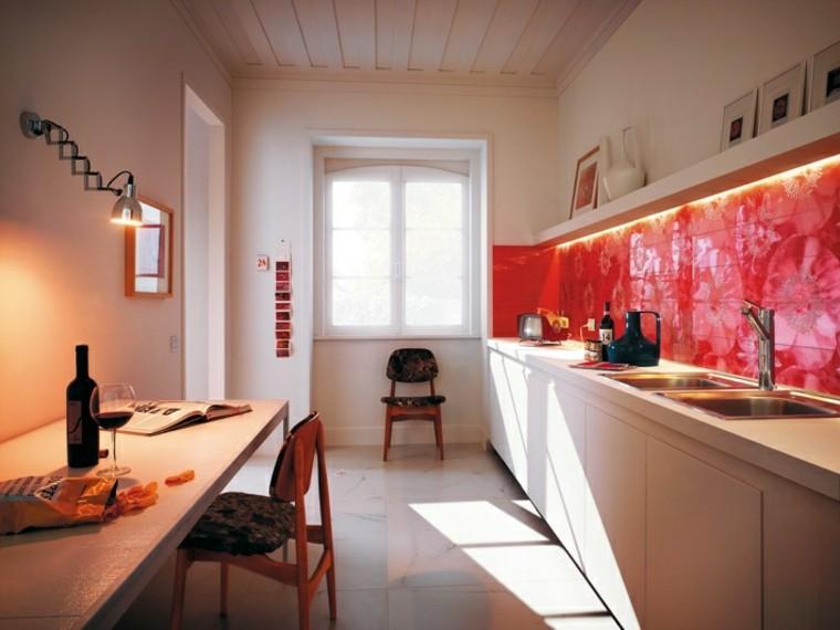 pared cocina moderna rojo grafico llamativo ideas
