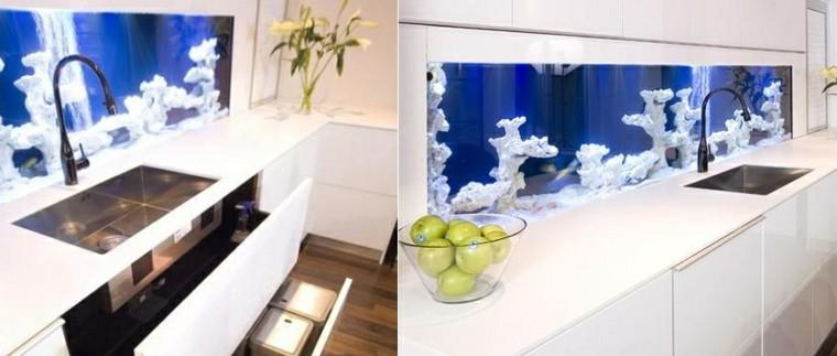 pared cocina moderna vibrio aquarium lavabo ideas