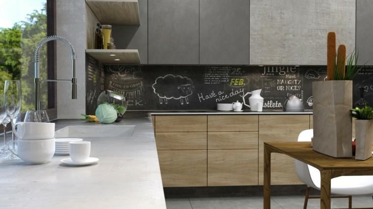 pared cocina pizarra negra muebles