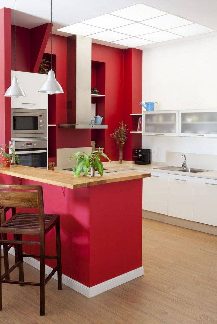 pared cocina color rojo intenso
