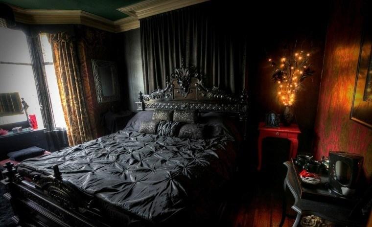 pared colcha raso cortina negra